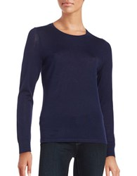 Lord And Taylor Crewneck Merino Wool Sweater Evening Blue