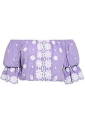 Miguelina Woman Cropped Off The Shoulder Embroidered Cotton Top Lavender