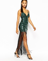 Rare London Patterned Sequin Maxi Dress With Fringing Green