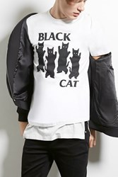 Forever 21 Popkiller Black Cat Graphic Tee White Black