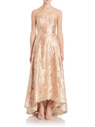 Theia Strapless Floral Lace Ball Gown Poppy Gold
