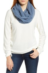 Halogen Solid Cashmere Infinity Scarf Blue Medium Heather