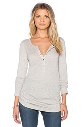Velvet By Graham And Spencer Alene Gauzy Whisper Classics Half Button Up Long Sleeve Top Gray