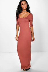 Boohoo 3 4 Sleeve Scoop Neck Maxi Dress Spice