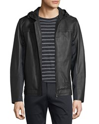 Vince Mixed Media Hooded Leather Jacket Black Men's