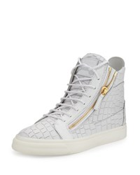 Giuseppe Zanotti Men's Crocodile Embossed Leather High Top Sneaker White