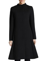 Cinzia Rocca Pleated Wool Coat Black