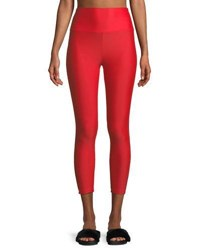 Lanston Caleb High Waist Contrast Curve Cropped Leggings Red