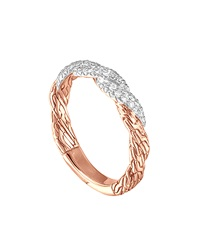 John Hardy Classic Chain Twisted Rose Gold Diamond Band Ring