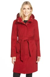 Ellen Tracy Belted Long Wool Blend Coat With Detachable Hood Red