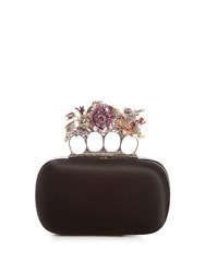 Alexander Mcqueen Flower Satin Knuckle Clutch Black