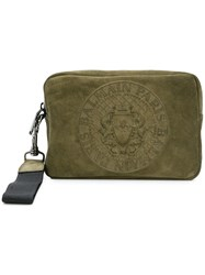 Balmain Logo Embossed Wash Bag Green