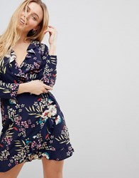 Girls On Film Ruffle Wrap Dress In Tropical Print Navy