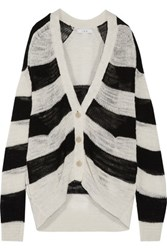 Iro Flesh Open Knit Striped Linen Blend Cardigan Off White