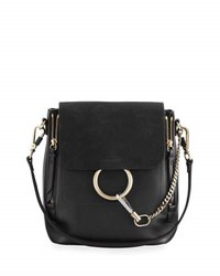 Chloe Faye Small Leather Suede Backpack Black