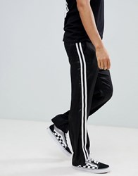 Asos Design Straight Trousers In Black With White Side Tape