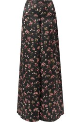 Cami Nyc The Tommy Floral Print Silk Charmeuse Wide Leg Pants Black