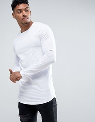Asos Super Longline Muscle Long Sleeve T Shirt With Curved Hem In White White