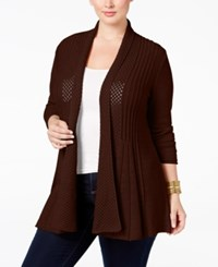 Ny Collection Plus Size Pointelle Knit Duster Cardigan Coco Velvet
