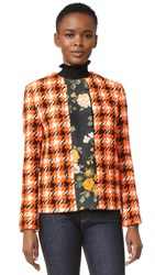 Msgm Plaid Boucle And Floral Jacket Orange Tweed