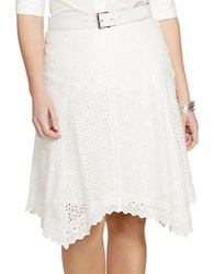 Lauren Ralph Lauren Plus Eyelet Cotton Skirt White