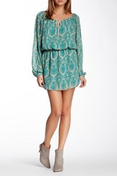 Single Dress Print Boho Peasant Dress Green