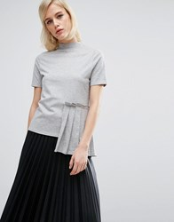 Lost Ink Pleated High Neck T Shirt Gray