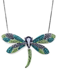 Kaleidoscope Sterling Silver Necklace Dragonfly Pendant With Swarovski Elements