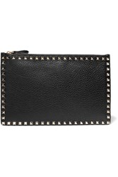 Valentino The Rockstud Textured Leather Pouch Black
