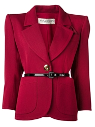 Yves Saint Laurent Vintage One Button Blazer Red