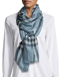 Burberry Gauze Giant Check Scarf Light Blue