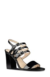 Nine West Women's Hadil Strappy Sandal Black Faux Leather