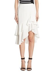 Scripted Ruffled Tiered Midi Skirt White