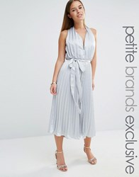 True Decadence Petite Plunge Front Pleated Culotte Jumpsuit With Belt Silver