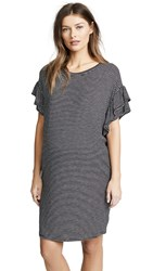 Ingrid And Isabel Ruffle Sleeve T Shirt Dress Black And White Stripe