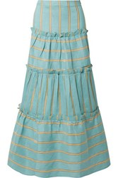 Paper London Coquillage Tiered Striped Linen Blend Maxi Skirt Turquoise