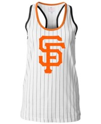 5Th And Ocean Women's San Francisco Giants Pinstripe Glitter Tank Top White