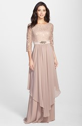 Women's Eliza J Embellished Lace And Chiffon Gown