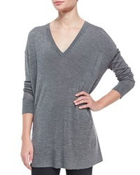 The Row Long Sleeve Oversized V Neck Sweater Gray Grey