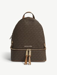 01b85699036c Michael Michael Kors Rhea Medium Leather Backpack Brown