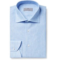 Canali Light Blue Slim Fit Pinstriped Linen Shirt Blue