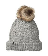 Plush Fleece Lined Chunky Knit Hat With Faux Fur Pom Pom Speckled Heather Beanies Gray