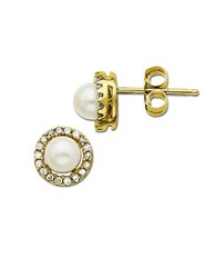 Lord And Taylor Freshwater Pearl Earrings With Diamond Accent In 14 Kt. Yellow Gold 6Mm 14K Yellow Gold