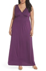Loveappella Plus Size Women's Surplice Maxi Dress Purple Dark