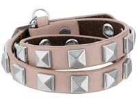 Rebecca Minkoff Double Row Leather Bracelet With Pyramid Studs Vintage Pink Rhodium Bracelet Brown