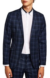 Topman Skinny Fit Check Suit Jacket Blue