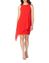 Tahari By Arthur S. Levine Petite Asymmetric Overlay Dress Crimson Red