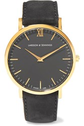 Larsson And Jennings Lugano Suede Gold Plated Watch One Size