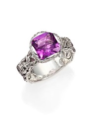 John Hardy Classic Chain Amethyst Diamond And Sterling Silver Braided Ring