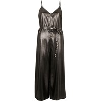 River Island Womens Dark Silver Metallic Culotte Jumpsuit